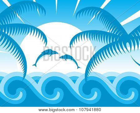 Palm Trees And Sea