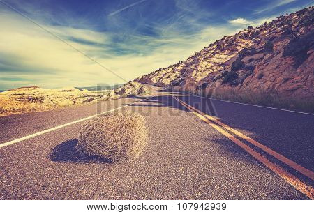Vintage Toned Tumbleweed On Empty Road, Travel Concept.
