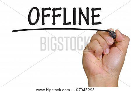 Hand Writing Offline Over Plain White Background