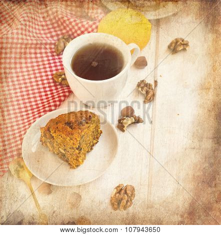Cup Of Tea And A Piece Of Carrot Cake