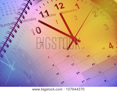 Clock faces and calendars composite