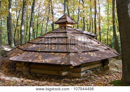 Roof of wooden temporary housing in Transcarpathia, Ukraine