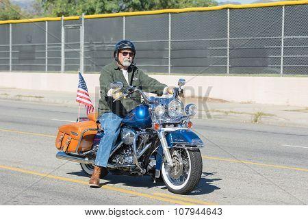 American Veteran On The Motorcycle
