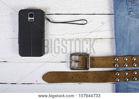 Planks, Phone, Blue Jeans And Belt 2