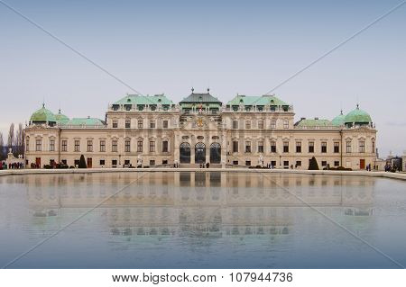 VIENNA,AUSTRIA- MARCH 10: Upper Belvedere Palace facade on March 10 , 2013.