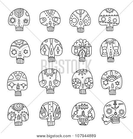 Skulls outlines set