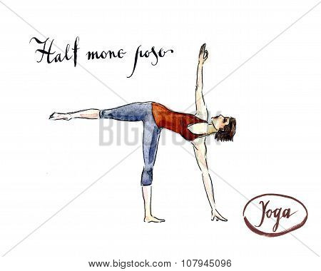 Woman Standing In Yoga Half Moon Posture