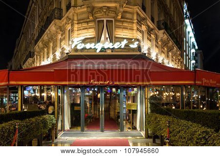 The Restaurant Fouquets At Night, Paris, France.