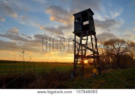 Hunting pulpit at sunset