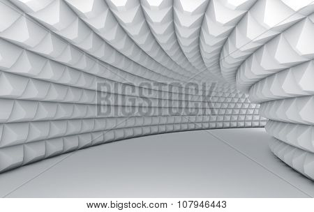 Abstract white tunnel with pyramid textured walls.