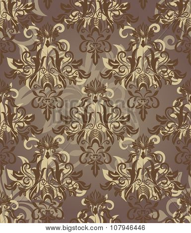 Seamless brown retro floral pattern.