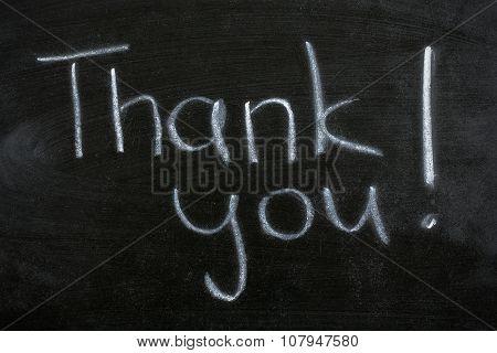Thank You Text On Blackboard