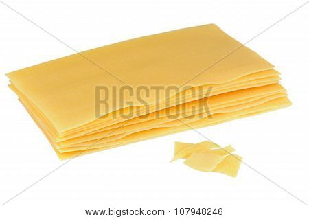 Raw Lasagna Pasta Isolated On White Background