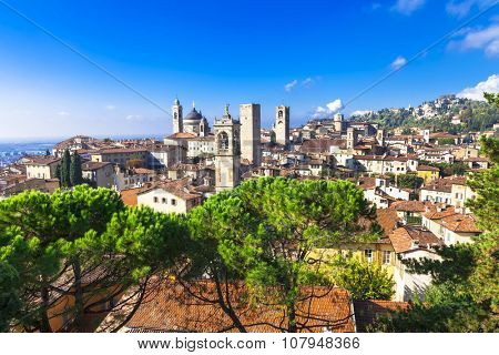 landmarks of Italy - beautiful town Bergamo, Lombardy, Italy