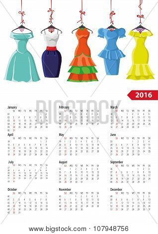 Calendar 2016 year.Female summer dresses