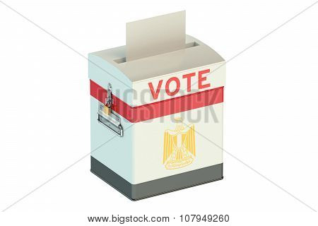 Ballot Box With Flag Of Egypt