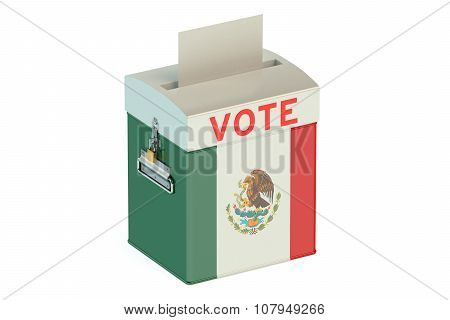 Ballot Box With Flag Of Mexico