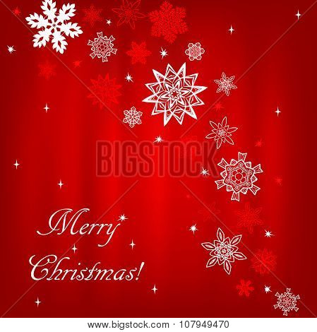 Christmas red square background with snowflakes