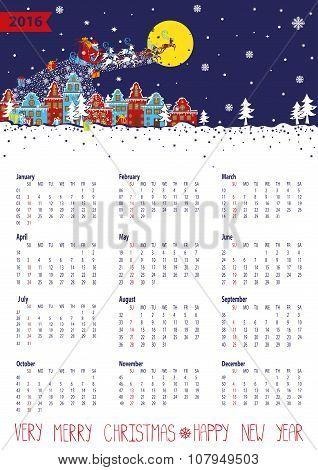 Calendar 2016.Santa coming to the city.Vertical