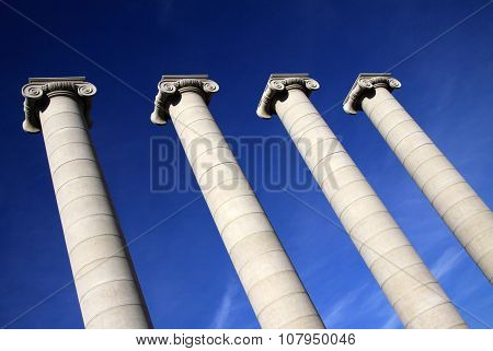 Barcelona, Catalonia, Spain - December 13, 2011: Columns In Front Of National Art Museum Of Cataloni