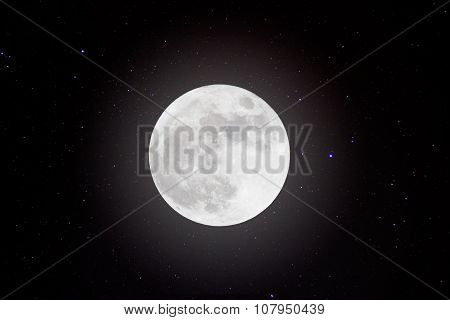 Full moon in space over stars background.