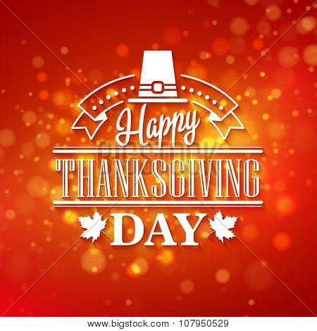 Vector typography design Thanksgiving  Blurred and boke autumn background