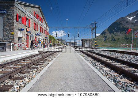 On The Railway Station In Alpine Landscape,switzerland