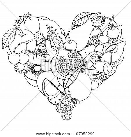 Heart From Healthy Fruit And Berry