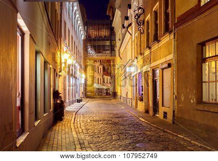 Riga. Old street at night.
