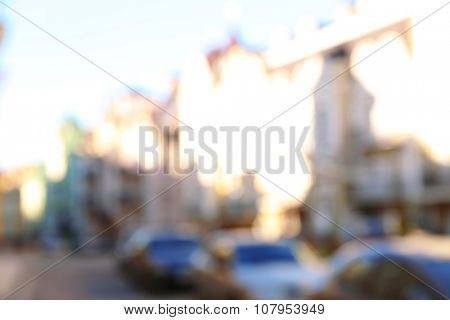 Photo of blurred old buildings in the city