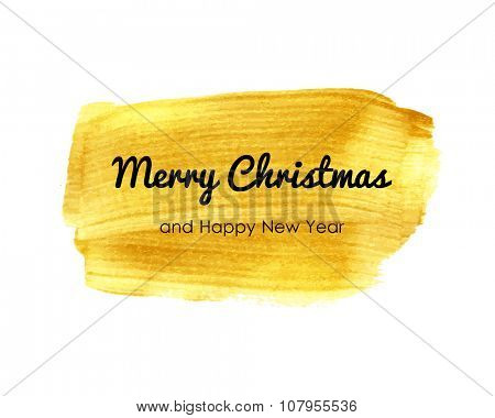 Merry christmas typographic poster.  Vector  lettering on gold watercolor background. Banner with phrase for poster, tshirt, banner, card and other design projects.