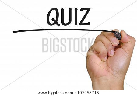 Hand Writing Quiz Over Plain White Background
