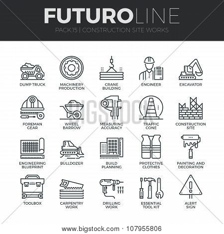 Construction Works Futuro Line Icons Set