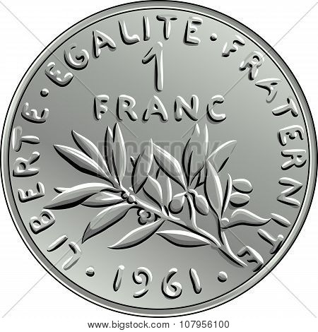 vector French money coin one franc obverse