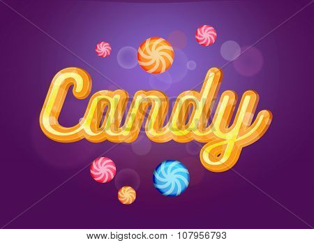 Cute Candy Font And Sweets On The Violet Background