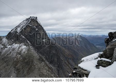Great view of the mountain The King (Kongen) in Rauma, Norway