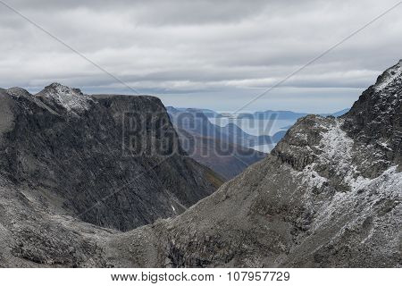 View of the fjords from the mountains of Rauma, Norway