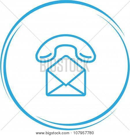 mail with handset. Internet button. Vector icon.