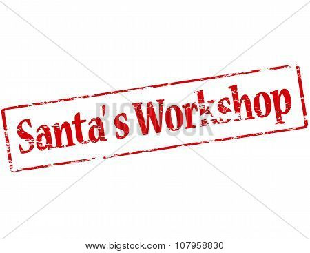 Rubber stamp with text Santa workshop inside vector illustration