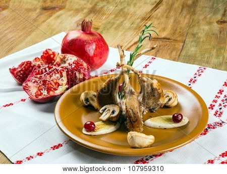 Dish Of Mutton Ribs, Mushrooms, Pomegranate