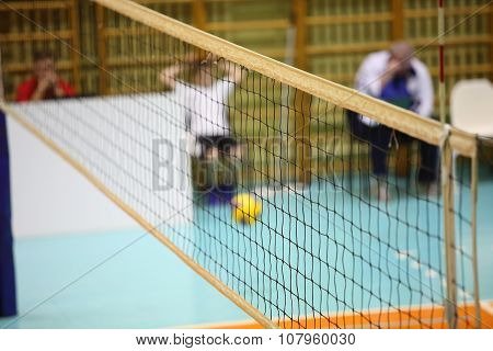 Volleyball Player And Volleyball Net