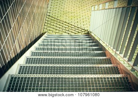 Metal stairs with railings