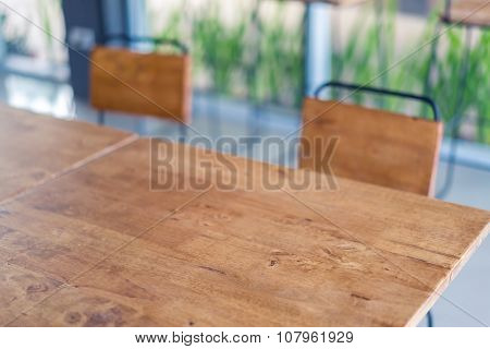 Wooden chairs in coffee shop