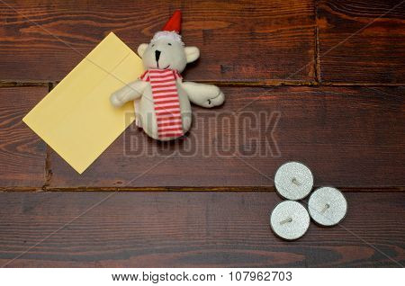 Yellow Envelope With Candles And Bear
