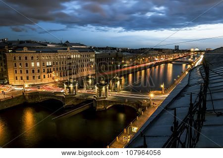 The View To The Bridge Of Lomonosov Over The River  Fontanka In St. Petersburg