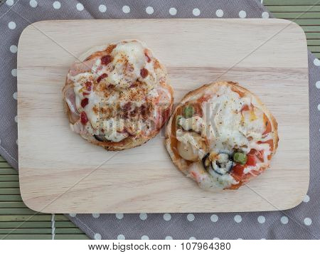Homemade Pizza With Ham And Tomatoes, Served With Spatula On Woo