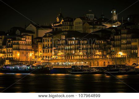 Overview Of Old Town Of Porto, Portugal At Night.