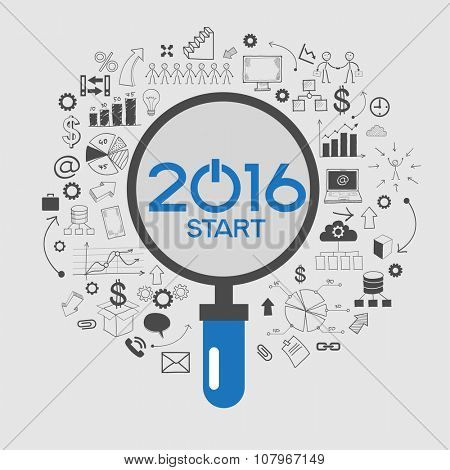 2016 text design on creative business success strategy. Concept modern template layout. 2016 text surrounded by doodle icons