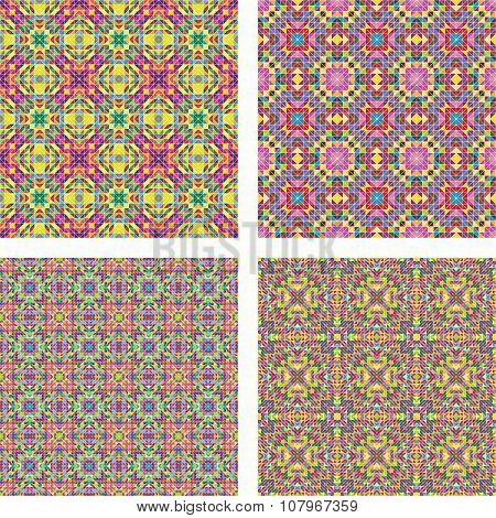 Colored seamless mosaic background set