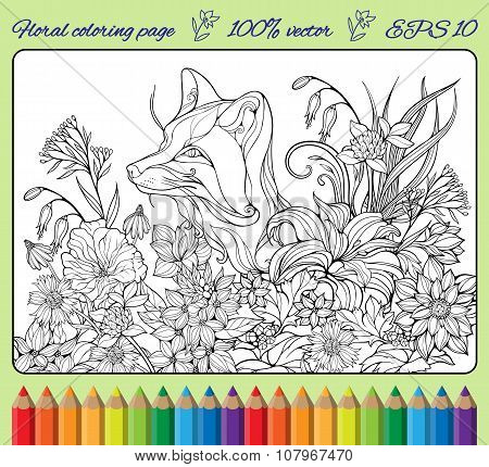 coloring page with fox hiding in flowers 1